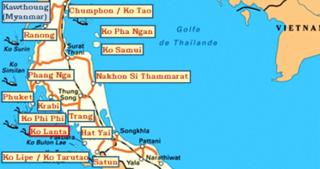 carte iles thailande