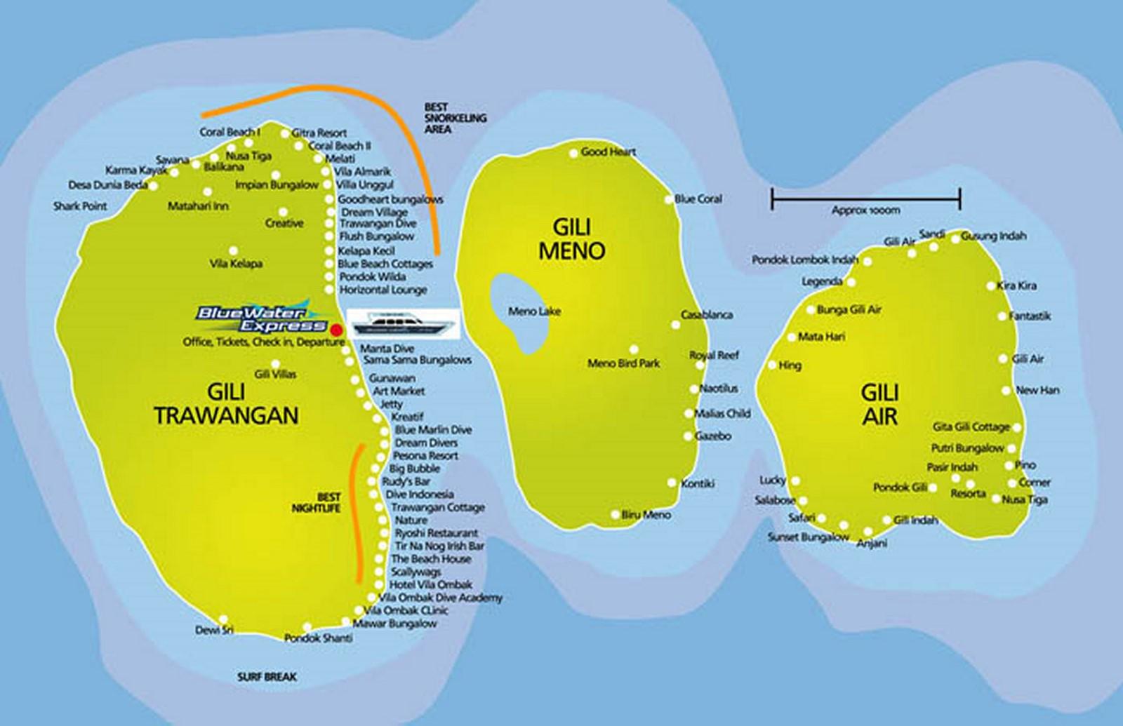 Carte Bali Et Gili.Les Gilis Bali