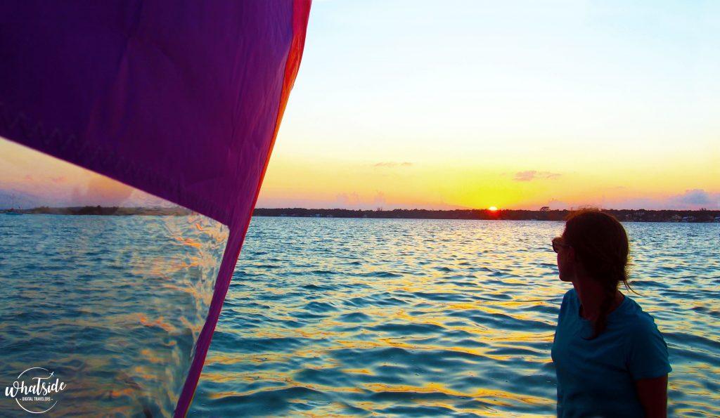 lagune de bacalar catamaran coucher soleil